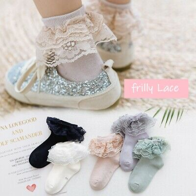 £3.48 • Buy Girls Kids Babys Children Frilly Lace Ankle Wedding Party School Socks 9m-12y