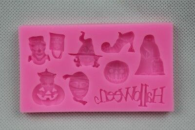 £3.99 • Buy Halloween Sign & 8 Assorted Figures Cake Decorating Icing Chocolate Mould Mat #8