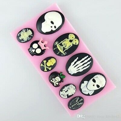 £5.25 • Buy Skull 10 Figure Halloween Cake Decorate Icing Chocolate Resin Silicone Mould #10