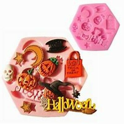 £4.45 • Buy Halloween Sign & 8 Assorted Figures Cake Decorating Icing Chocolate Mould #H