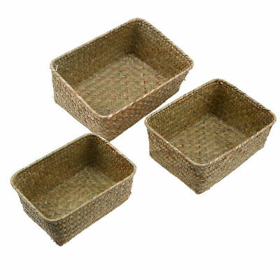 Seagrass Storage Box Handmade Woven Flower Basket Fruit Container Home Decor • 5.69£