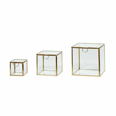 £58.41 • Buy Decorative Brass And Glass Display Jewellery Box Set Of 3  Danish Design By H...