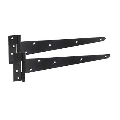 £5.95 • Buy Heavy Duty Tee Hinges For Garden Gates In Epoxy Black Finish 300mm/400mm/450mm
