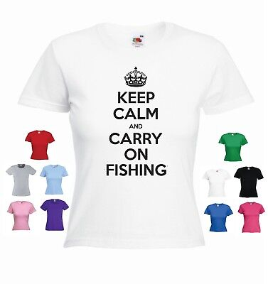 Keep Calm And Carry On Fishing' - Funny Women's Fishing T-shirt  • 9.99£