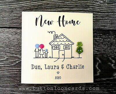 £3.85 • Buy Handmade & Personalised Button Card - New Home Up To 5 People & Dog / Cat