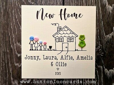 Handmade & Personalised Button Card - New Home Up To 5 People & Dog / Cat • 3.85£