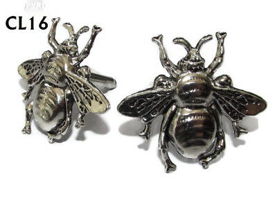 Steampunk Jewellery Cufflinks Silver Honey Bumble Bee Apiarist Manchester #CL16 • 7.50£