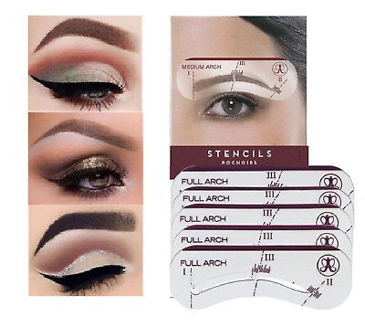 Eyebrow Shaping Stencil Kit Perfect Eye Brow Liner Style -5 Pack Shape Template • 2.39£