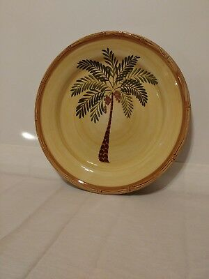 $7 • Buy Home Trends WEST PALM 10.5  Dinner Plate  Palm Coconut Tree.  Bamboo Border.