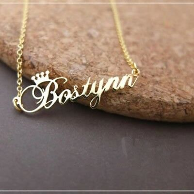 £14.15 • Buy Necklace Crown Name Custom Personalized Stainless Steel Initial Letter Box Gift