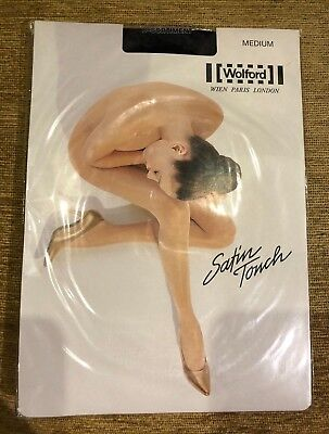 New Slightly Imperfect - Wolford Satin Touch 20 Tights In Admiral - Size Medium • 14.99£