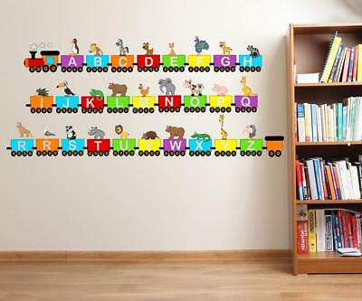 Animals With Alfavet Train Attractive Children Room Decor Vinyl Wall Sticker • 19.95£