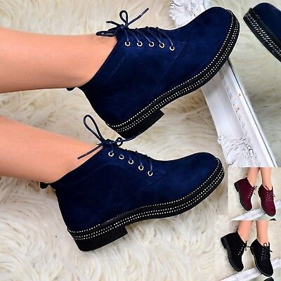 £19.99 • Buy Womens Flat Lace Up Ankle Boots Casual Low Heel Shoes Flatform Booties Size 3-8