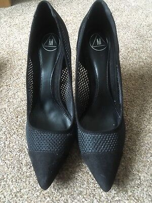 Missguided Black Mesh Pointed Court Shoes UK 7/40 • 10£