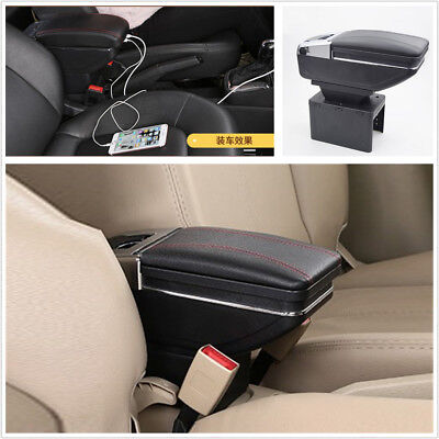 Auto Center Armrest Storage Box LED Light USB Charging Car-styling Accessories • 46.28£
