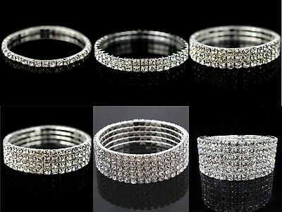 Ladies Women Diamante / Rhinestone / Crystal Silver Stretch Bracelet UK Seller  • 2.85£
