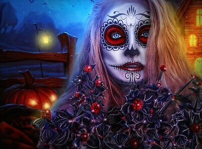 £16.05 • Buy Abstract Gothic Day Of The Dead Sugar Skull Canvas Picture Poster Unframed #2483