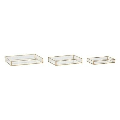 £71.91 • Buy Brass And Glass Display Jewellery Box Set Of 3 Danish Design By Hubsch