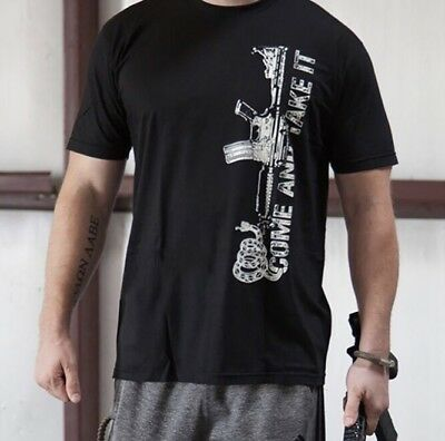 """$ CDN17.16 • Buy New! 2nd Amendment• Men's """"Come And Take It"""" Made In USA Black T-Shirt• Small"""