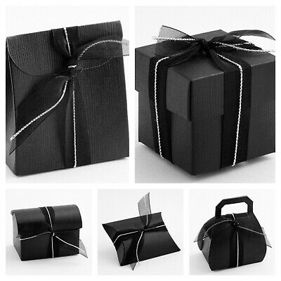 SILK BLACK - Luxury DIY Wedding Party Favour Gift Boxes - Box Only • 4.25£