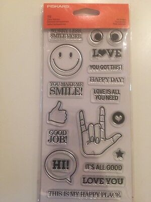 £3.36 • Buy Clear Acrylic Stamp Set By Fiskars Stamps  All Smiles 177200 NEW