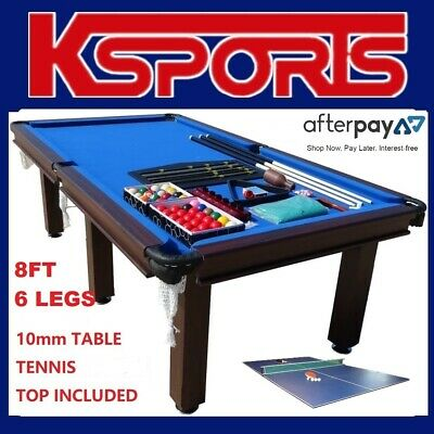 AU850 • Buy Pub Size Pool Table 8ft Snooker Billiard Table  - 6 Legs With Table Tennis Top