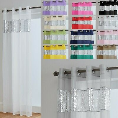 Sparkle Voile Eyelet Curtain Panel With Luxurious Sequin Border • 10£