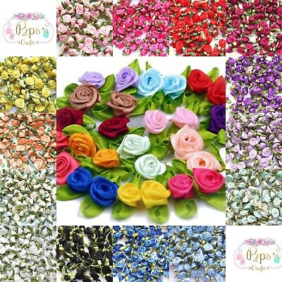 Mini Satin Ribbon Roses With Leaf 25mm & 30mm Crafts Sewing Card Making Weddings • 2.09£
