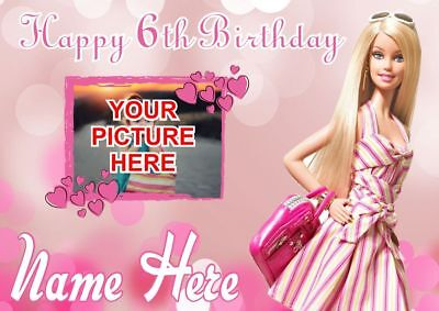 Barbie  | Girls Birthday Poster Banner | Personalised Name And Picture | TP189 • 7.99£