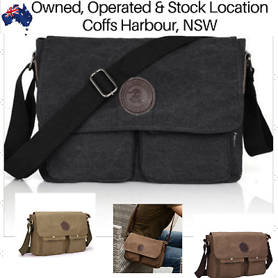 AU26.78 • Buy Mens Canvas Bag Shoulder Messenger School Bags Vintage Military Travel Satchel