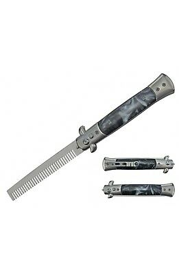 $ CDN16.63 • Buy Automatic Push Button Folding Comb Switchblade Knife Faux Black Pearl Handle
