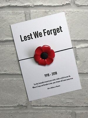 Poppy Remembrance Day Wish Bracelet. Lest We Forget Card. 1918 - 2018 Rememberin • 4.30£