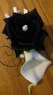 Wedding Flowers White/Ivory Calla Lily And Black Rose Corsage Pearls,satin Bow • 6.99£