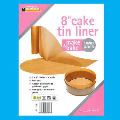 2x 8  Inch Reusable Non-Stick Beige Cake Tin Liners Make & Bake • 3.58£