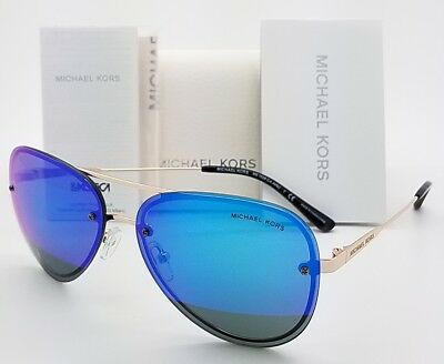 5370c93f002 New Michael Kors Sunglasses MK1026 1116F3 Gold Blue Aviator La Jolla  AUTHENTIC • 67.49