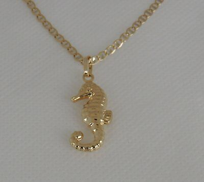 14K Yellow Gold Seahorse Pendant Fish Hollow Charm Necklace Fishing Sailor Gift • 94.99$