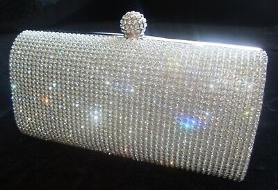 £13.99 • Buy Silver Diamante Crystal Evening Bag Clutch Purse Party Prom Wedding Christmas