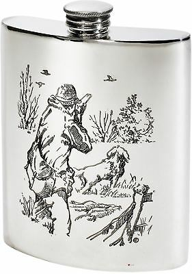 £44.99 • Buy Kidney Shaped Hip Flask 6oz Pewter Polished With Shooting Scenes On Both Sides