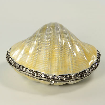 $25 • Buy Bejeweled Clam Shaped Trinket Box With Crab Inside, Figurine In Antique Silver