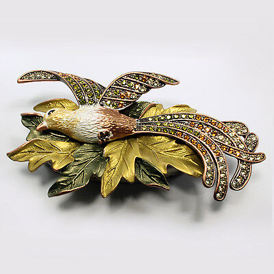 $25 • Buy Bejeweled Bird Of Paradise Trinket Box, Faberge Figurine, With Crystals In Topaz