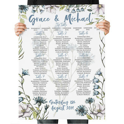 £47.99 • Buy Wedding Seating Plan Blue Wildflower Table Chart Menus Place Cards Canvas