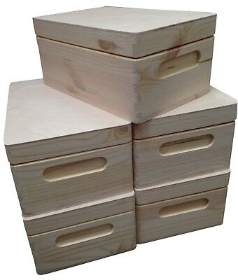 Set Of Natural Wooden Boxes - Case Storage -  Christmas Eve Box- Tool Box - Lid • 8.90£