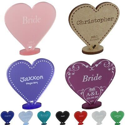 £2.49 • Buy Wedding Place Cards Personalised Names Table Settings Freestanding Heart Favours