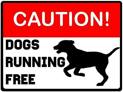 £2.49 • Buy CAUTION  Dogs Running Free  Metal Sign, Warning, Drive, Gate, Road Safety.