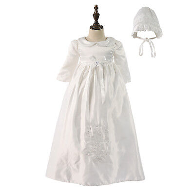 £26.99 • Buy Tradition Baby Girls Embroidery Long Christening Dress Bonnet 0 3 6 9 12 Months