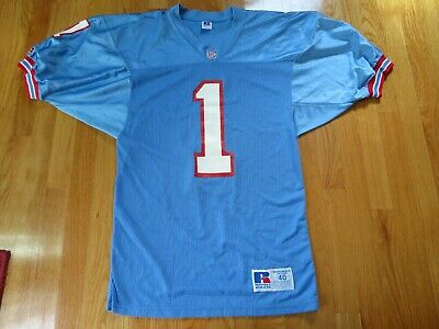 61e59744 Vintage Russell Athletic WARREN MOON No. 1 HOUSTON OILERS (Size 40) Jersey •