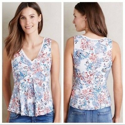 $ CDN15 • Buy Anthropologie Top Size Medium Blue Floral Print Deletta Amalia Peplum Sleeveless
