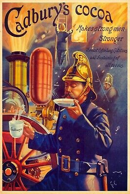 £7.49 • Buy Cadburys Cocoa Drink Vintage Fireman Advertisment Retro Metal Sign, Gift