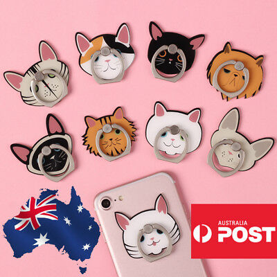 AU9.99 • Buy Cute Finger Ring Holder Pop Stand Grip IPhone Samsung Phone Socket Cat Cartoon