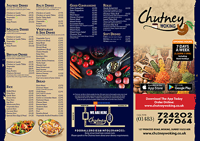 Restaurant/Takeaway Menu Design,Folded Leaflet A4/A3 Half/Tri/Z Fold Design Only • 34.99£